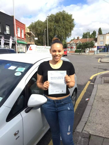 miss Roxanne from e14 passes her driving test with Time to pass