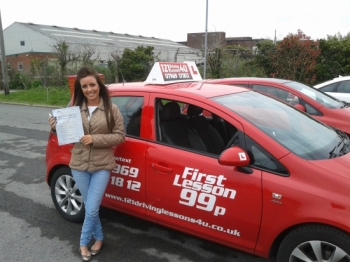 passed May at Sutton in Ashfield test centre with just one driver fault Outstanding Alix