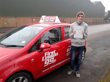 from Mansfield Woodhouse, passes at Sutton in Ashfield February. Now he can drive himself to work - more time for parents to relax....