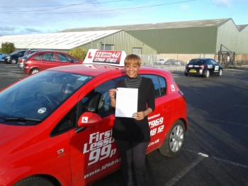 No more chauffeur driven cars to work for Nosimilo Passed first time November at Sutton in Ashfield Test Centre