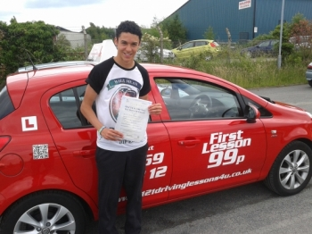 from Hucknall passed first time in July at the Sutton Test centre All heacute;s got to do now is borrow the car keys from his parents