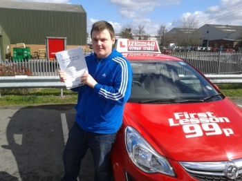 passes his driving test first time after only 8 lessons - outstanding. March....