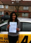 Nivetha passed with Caroline Driving Tuition