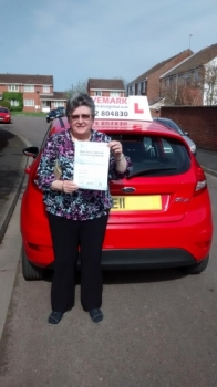 Congratulations Sue. Passed your test first time today. Told you that you would get there even though you thought you never would. Its been a pleasure to teach you. DriveSafe!...........................................................  Sue says...