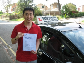 26 April 2011 - Jiahao passed with 7 minor driving faults on his second attempt (his first attempt was with a different Instructor!). You can now drive yourself to and from your University in Southampton. Well done Jiahao....