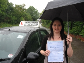 17 June 2011 - Atrocious weather conditions plus the Supervising Examiner sitting in the back, the odds were pretty much stacked against her! But Cherise pulled through and managed to pass first time with 13 minor driving faults (a bit of a close call!) Anyway, as she rightly said, a pass is a pass! Well done Cherise....