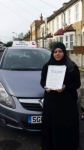 Aasia passed with SKY DRIVING SCHOOL