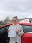 Cerys Thompson passed with Angela Driving School