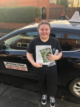 Well done to Macey for passing her practical test in Bolton on 7/12/18 with only one fault.