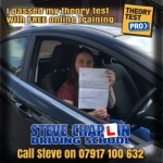 Stephanie Harby passed with Steve Chaplin Driving School