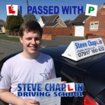 Aaron Trueman passed with Steve Chaplin Driving School