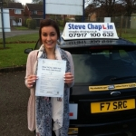 Beth Lister passed with Steve Chaplin Driving School