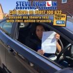 Bridie Douglas passed with Steve Chaplin Driving School
