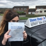 Chloe Coates passed with Steve Chaplin Driving School