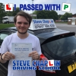 Conor Busby passed with Steve Chaplin Driving School