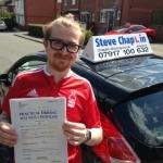 Tyler Morley passed with Steve Chaplin Driving School