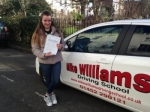 Katie Andrews of Gloucester passed with Mike Williams Driving School