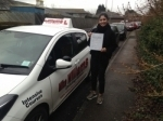 Isabella Diaz Paramo in Gloucester passed with Mike Williams Driving School