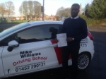 Terence Babarinsa of Gloucester passed with Mike Williams Driving School