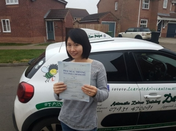Congratulations to Xiaoli from #Attleborough who passed her Automatic Driving Test this afternoon at #Norwich in #Bumble #TPDC <br />