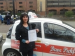 Samantha Nash passed with Dave Pickford Automatic Driver Training