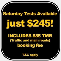 Saturday test bookings available. Call for info and availability
