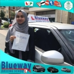 Hanifa passed with Blueway Driving school