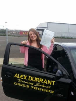 Driving Lessons Kings Lynn. Samantha McCalmont passed her driving test with Alex Durrant driving school.