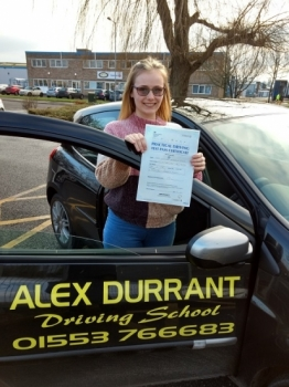 Congratulations to Lili-mai Mott of Kings Lynn for passing her driving test on Wednesday 23rd January 2019. She passed with only 6 driving faults after taking driving lessons with Alex Durrant Driving School. We wish her good luck with her aim of becoming a paramedic and with her driving.