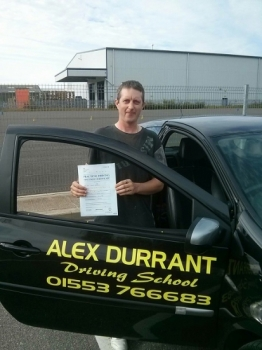 Driving Lessons Kings Lynn. Neil Jenner Ackhurst passed his driving test with Alex Durrant driving school.