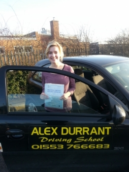 Driving Lessons Kings Lynn. Danielle Bradshaw passed her driving test with Alex Durrant driving school.