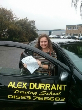 Driving Lessons Kings Lynn. Alisha Nicholls passed her driving test with Alex Durrant driving school.