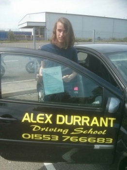 Driving Lessons Kings Lynn. Connor Thomas passed his driving test with Alex Durrant driving school.