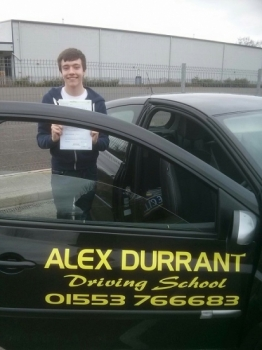 Driving Lessons Kings Lynn. Tom Bailey passed his driving test with Alex Durrant driving school.