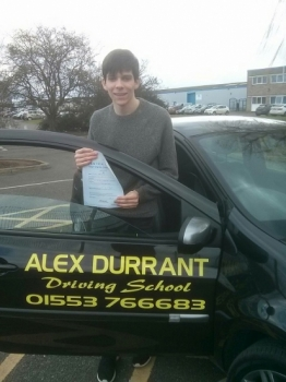 Driving Lessons Kings Lynn. Elliot Blazer passed his driving test with Alex Durrant driving school.