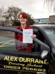 Natasha Dye passed with Alex Durrant Driving School