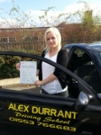 Meg Chapman passed with Alex Durrant Driving School