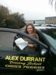 Alisha Nicholls passed with Alex Durrant Driving School