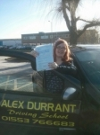 Clare Rye passed with Alex Durrant Driving School