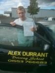 Aaron Keegan passed with Alex Durrant Driving School