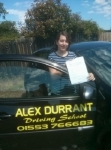 Sophie Newson passed with Alex Durrant Driving School