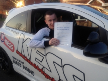 Thanks to Eamon I passed my test first time I would recommend KESS Driving to anyone Eamon is a great driving instructor and helps you gain a lot of confidence when driving<br /> <br /> Thanks