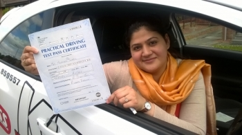 What an achievement moved to Britain only a year ago started lesson and with in seven months passed the Theory and Driving test both first time<br /> <br /> <br /> <br /> Congratulations to Marriam