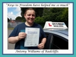 Antony Williams of Radcliffe passed with Keys to Freedom Driving School Bolton