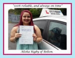 Alisha Rigby of Bolton. passed with Keys to Freedom Driving School Bolton