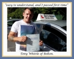 Tony Whittle of Bolton. passed with Keys to Freedom Driving School Bolton