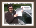 Andrew Simpson of Bolton passed with Keys to Freedom Driving School Bolton