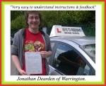 Jonathan Dearden of Warrington passed with Keys to Freedom Driving School Bolton