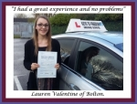 Lauren Valentine of Bolton. passed with Keys to Freedom Driving School Bolton