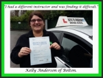 Kelly Anderson of Bolton. passed with Keys to Freedom Driving School Bolton